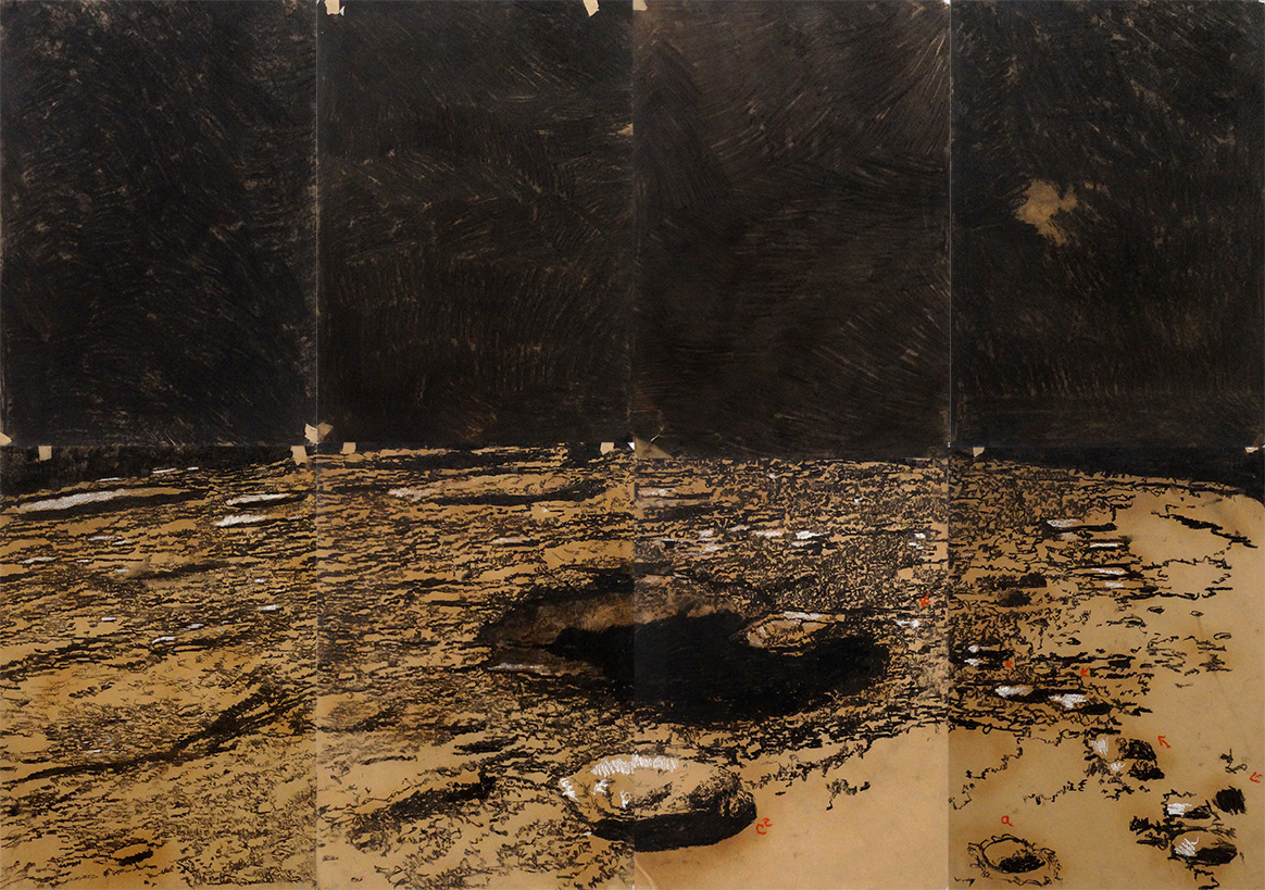 Jorge da Cruz – hole in the landscape – Coal on craft paper – 150x200cm Berlin Settlement – 2014 Bethanien
