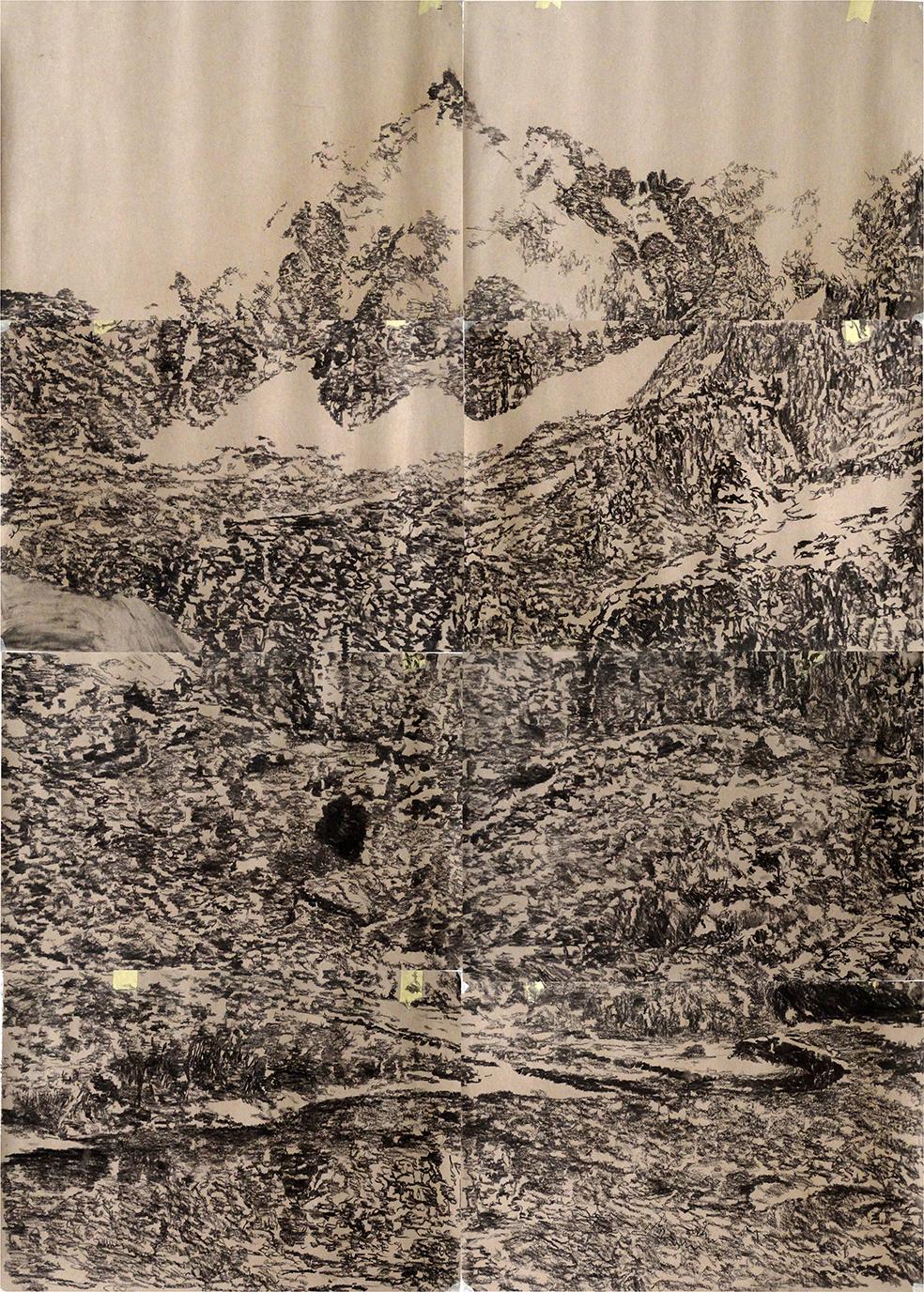 Jorge l. Cruz   landscape l charcoal on paper, 2015   180x2400cm (colect.nr00049)