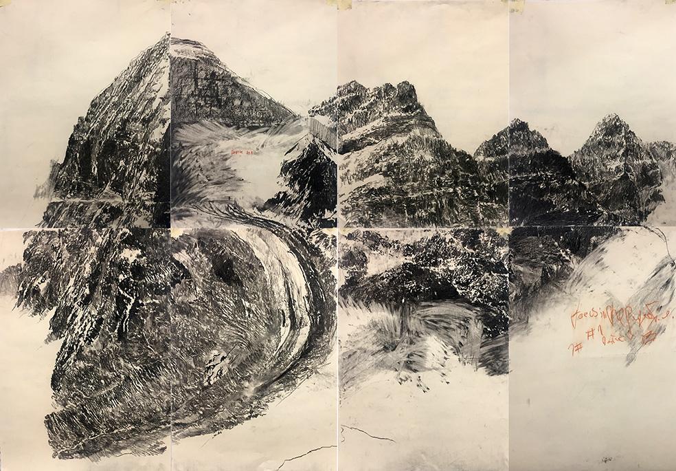 Jorge daCruz -landscape the calling - l charcoal on paper | 240x160cm l © k37 studio, bethanien Berlin 2018