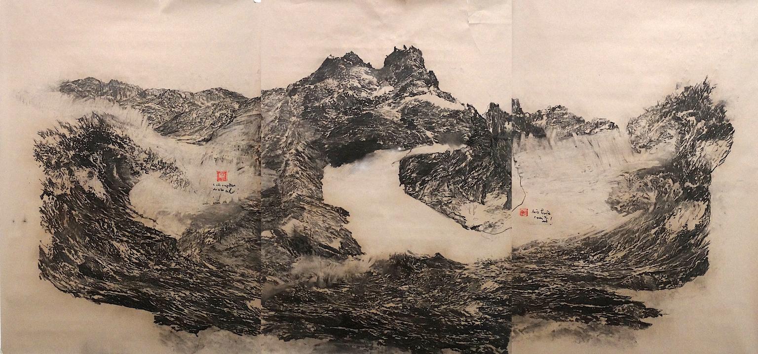 One step before happiness | the world creation l charcoal on paper, 2018 | 300x125 cm l © k37 studio, bethanien Berlin, (Ventura/Pörschmann Collection, Kassel)