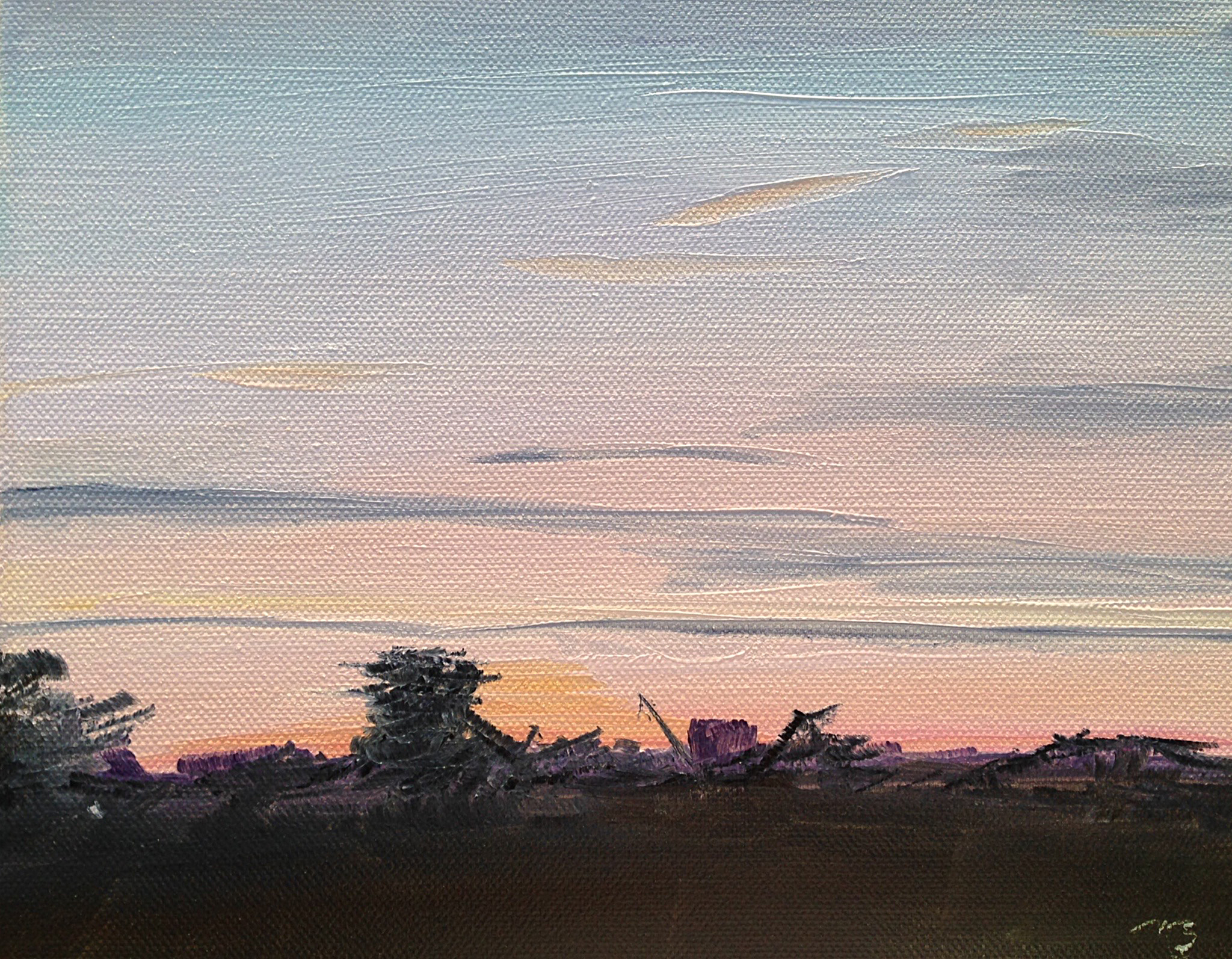 June 1, 5:39am, 9/30 8 x 10, oil on canvas.