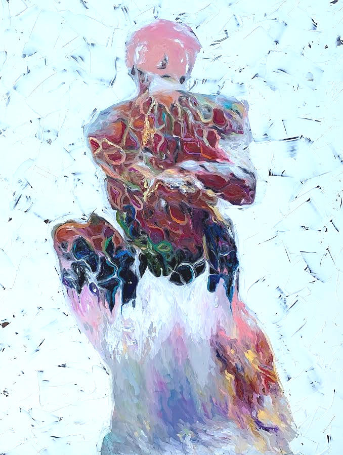 The Thinker 18x24 inches Oil paint on glass panel  Available