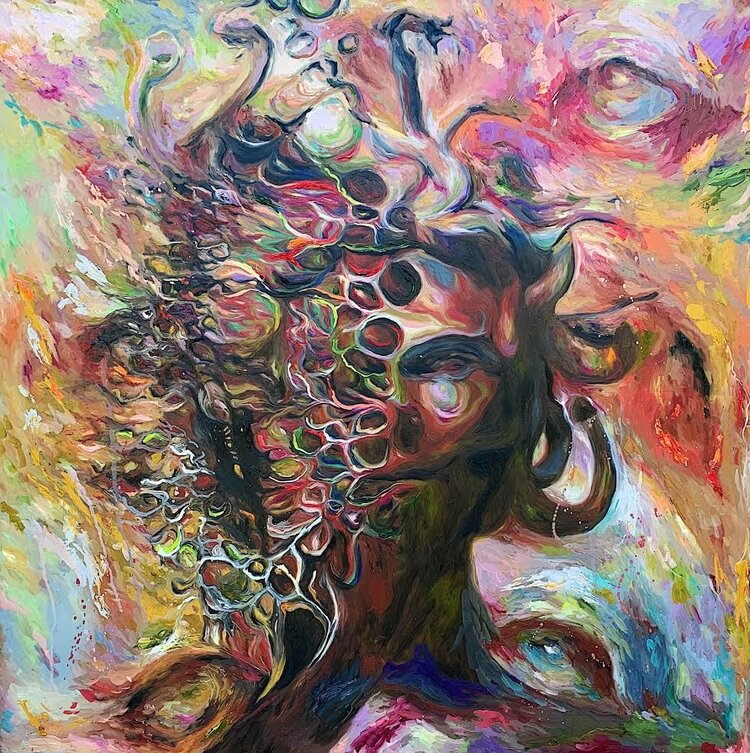 Medusa  36x36 inches Oil paint on glass panel  SOLD