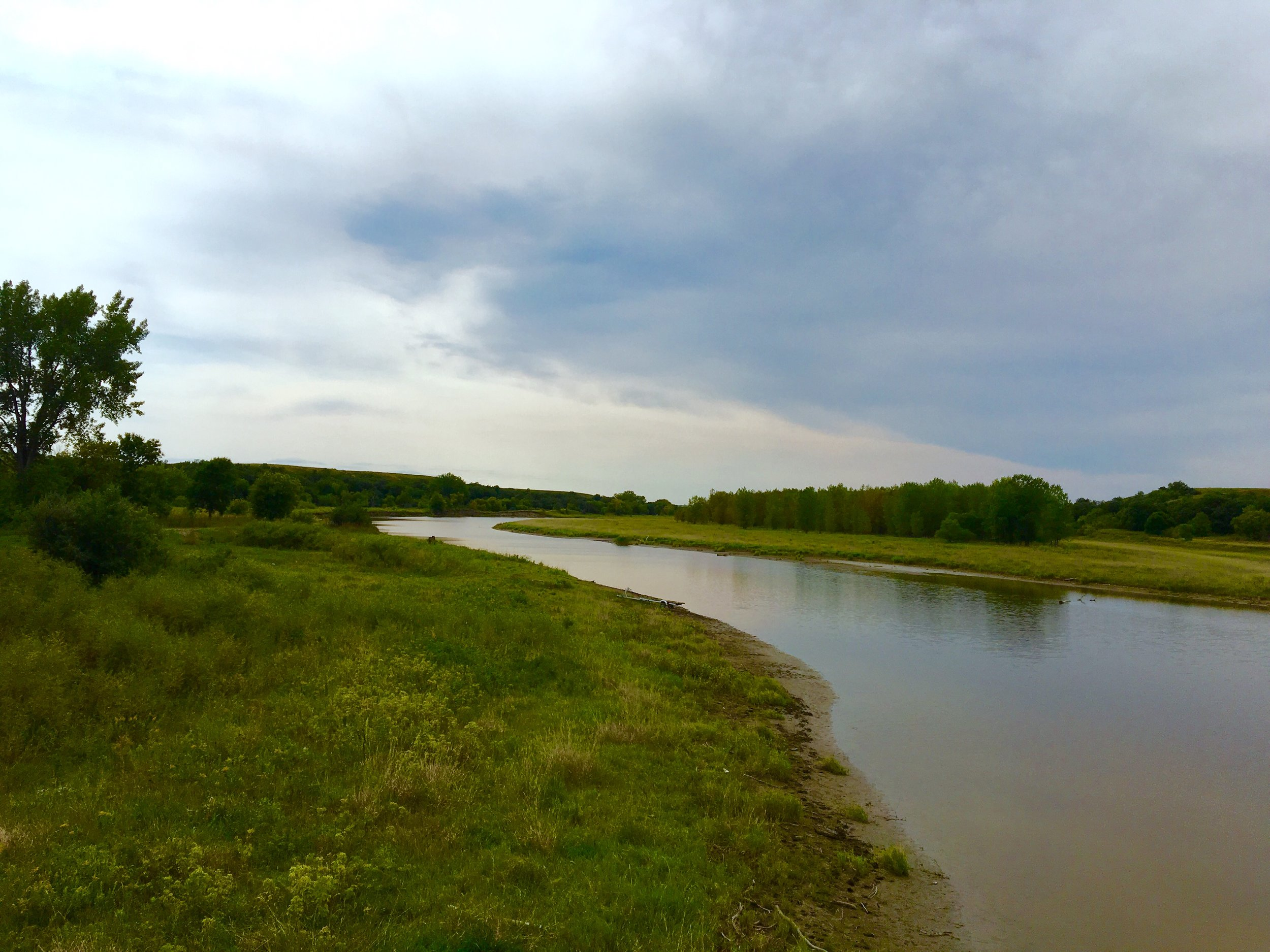 Missouri River, at Sacred Stone Camp,on Tuesday, August 30 (photo by Gabe Galanda)