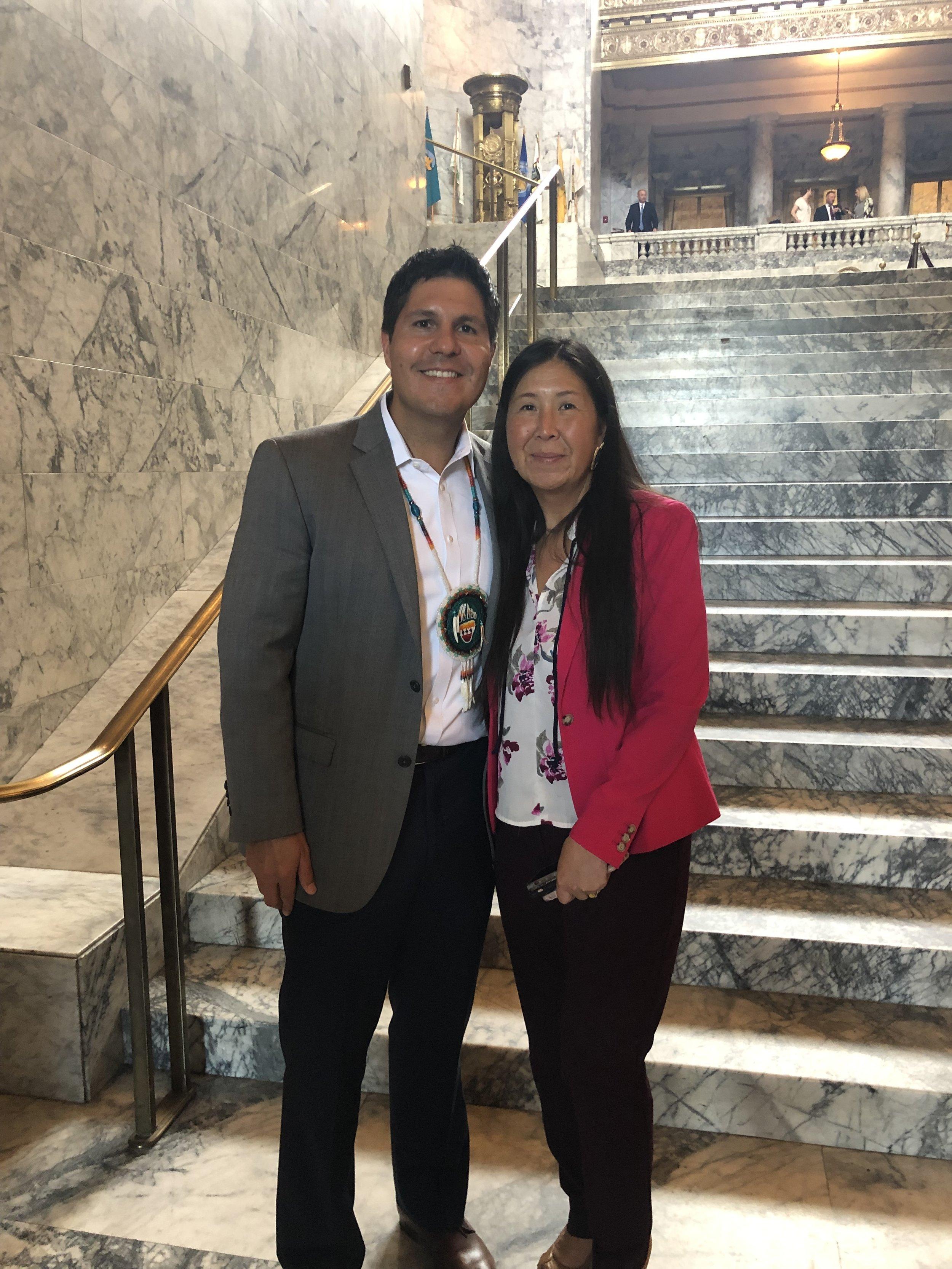 Gabe Galanda and Washington State Representative Debra Lekanoff (Tlingit/Aleut), HB 1485's prime sponsor