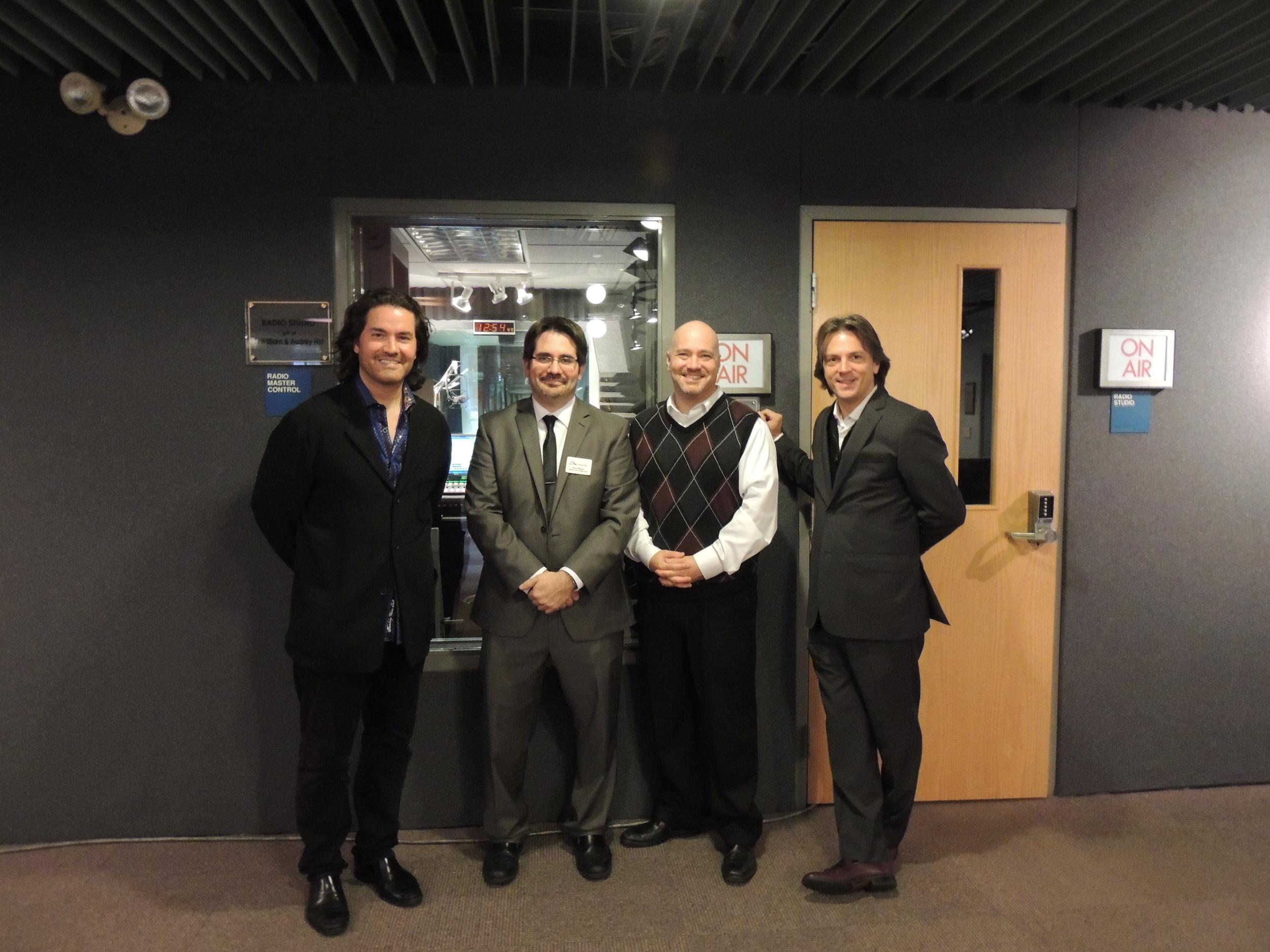 Soloist Zuill Bailey, Executive Director Steve Weiser, host Brian Hannah and Music Director Daniel Meyer