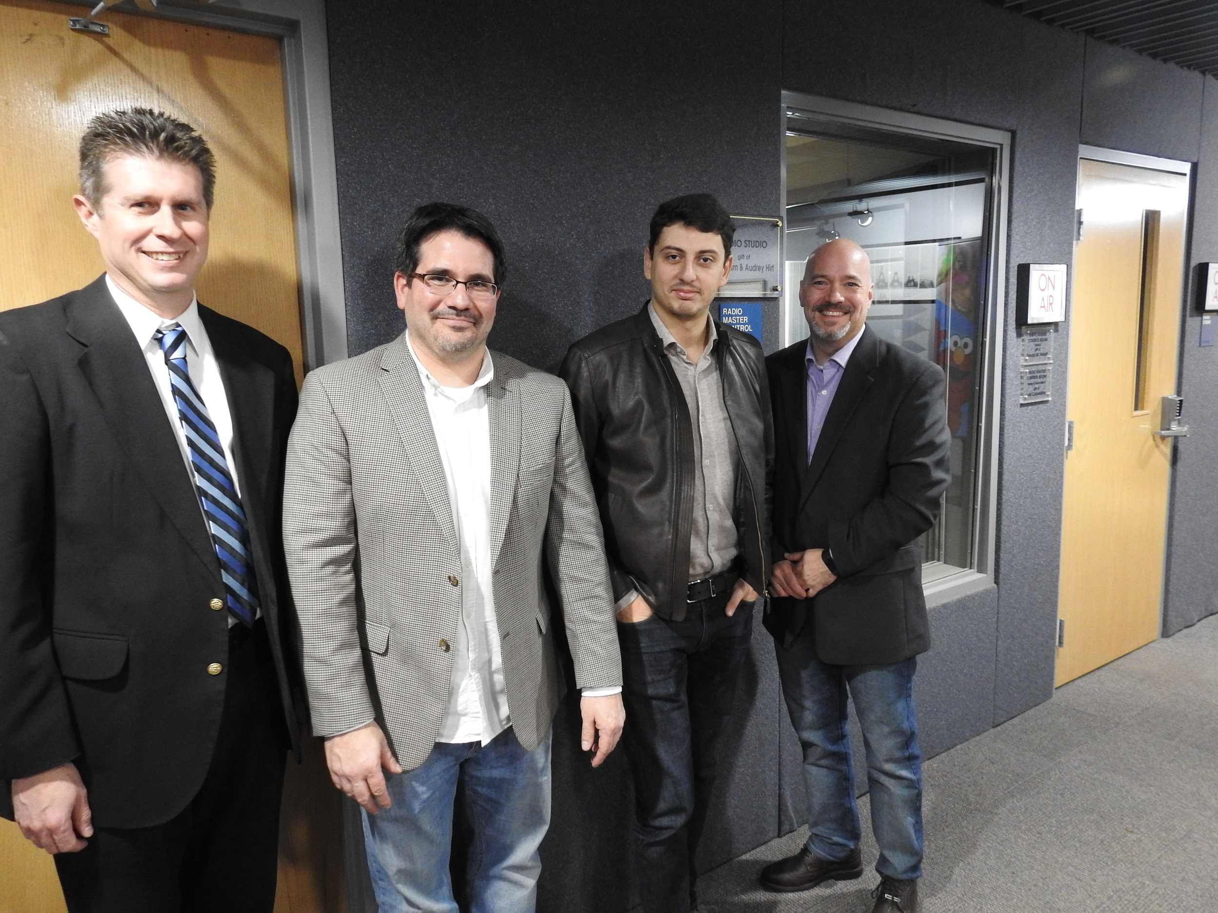 Nathan Hess, piano, Steve Weiser, Executive Director, Narek Hakhnazaryan, cello and Brian Hannah, host