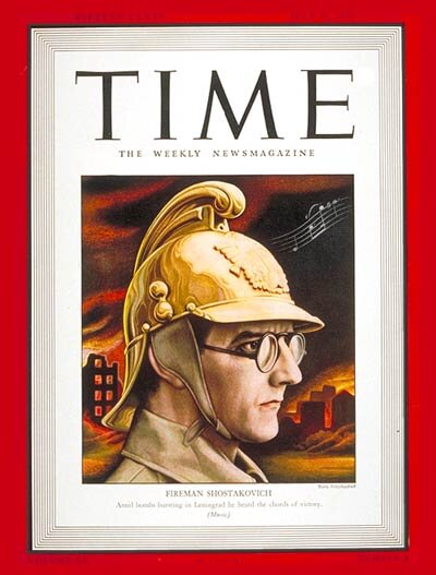Shostakovich on the cover of TIME magazine - the composer was used as wartime propaganda in Russia.