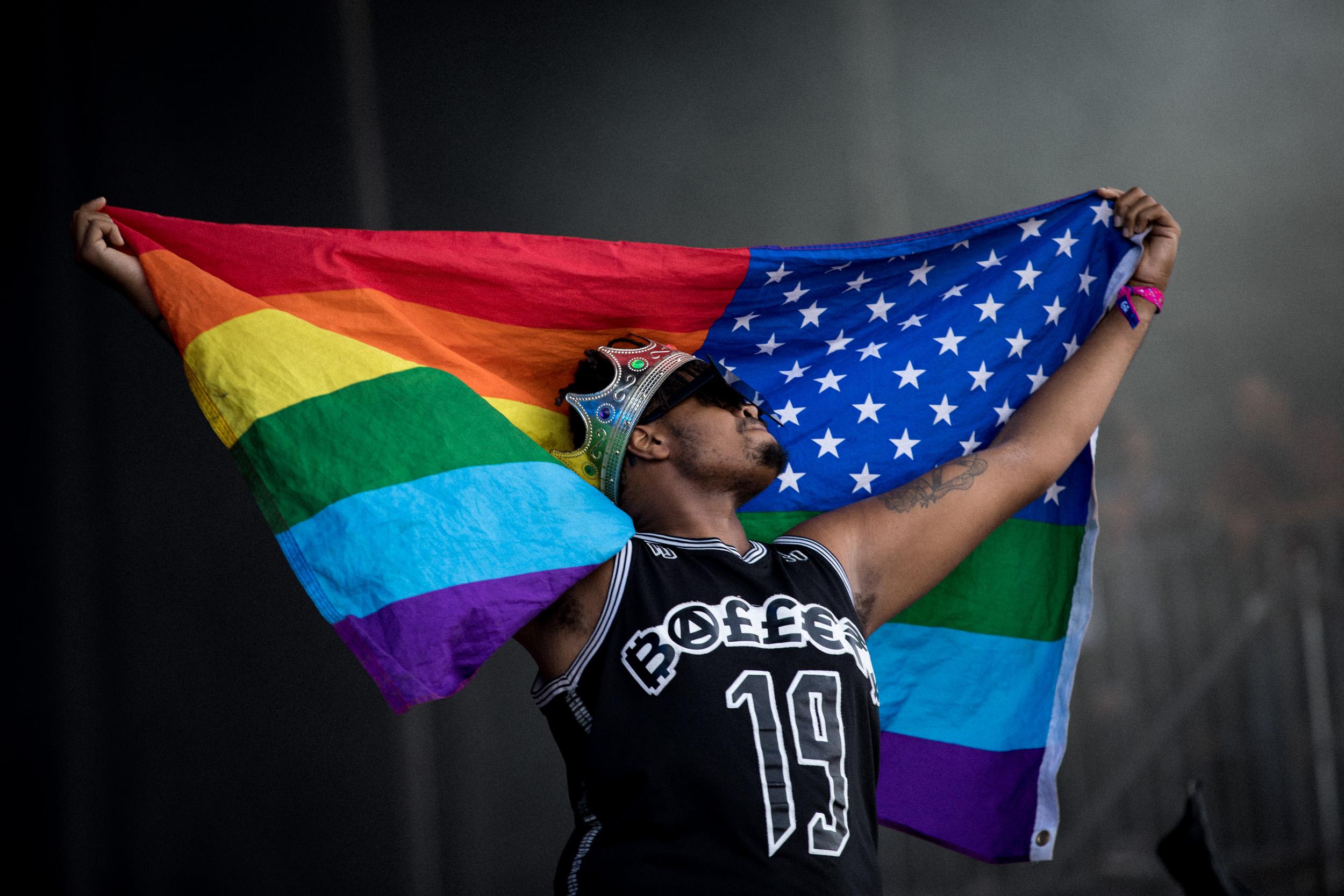 Rainbow Flag with N.E.R.D. Outside Lands, SF, CA