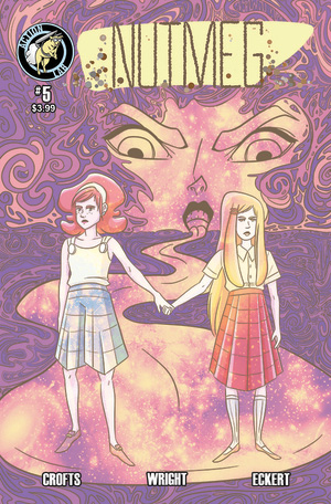 "NUTMEG #5    October 2015    ""Pantry Raids""    Poppy and Cassia, the teen masterminds behind the addictive Patty Cake brownies, hoping to better understand their product, violate one of the 10 Crime Commandments: they try their own supply.    Art: Jackie Crofts    Colors/Lettering: Josh Eckert    Script: James F. Wright"