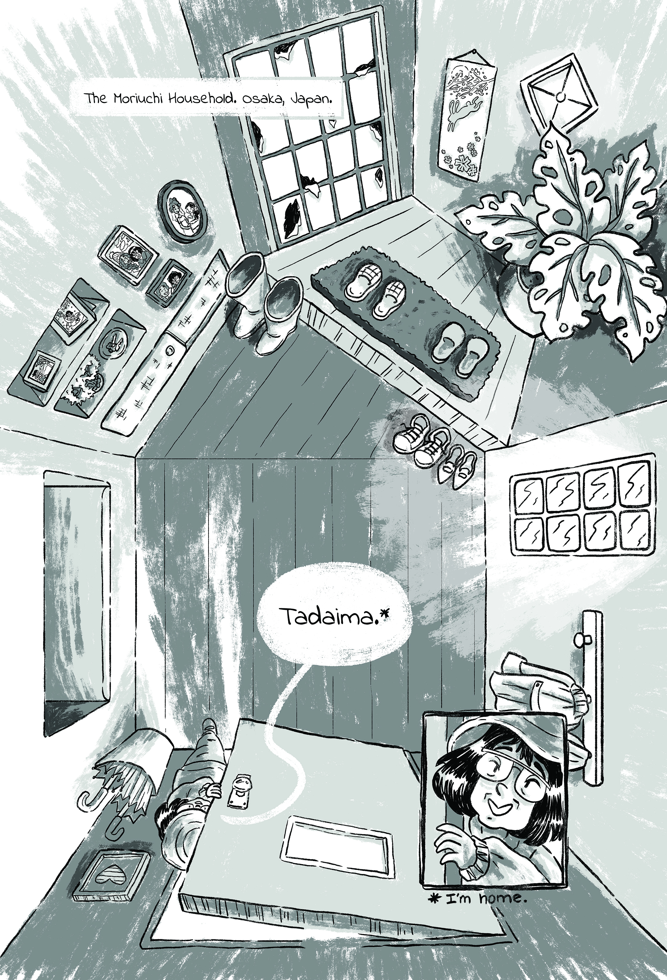 """Okaeri""  Winter 2019  A ghost story set entirely in the  genkan  of a Japanese home, about a couple dealing with loss and reconnection. This short is part of the death positivity  You Died  anthology from Iron Circus Comix.  Art: Jackie Crofts  Script: James F. Wright"