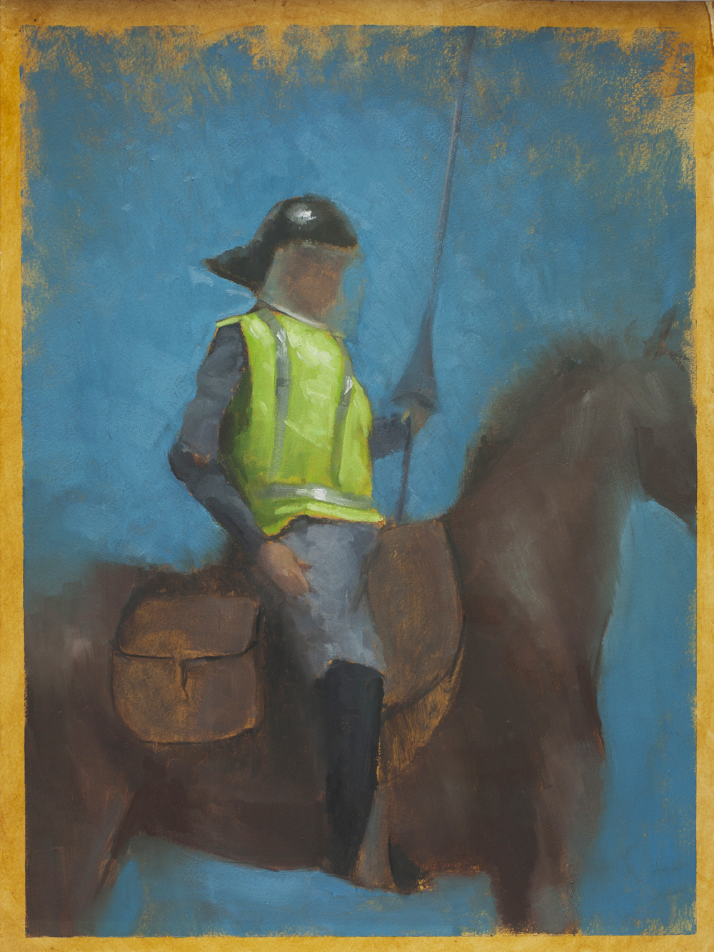 St. George NEON, Oil on Paper, 56x42cm,