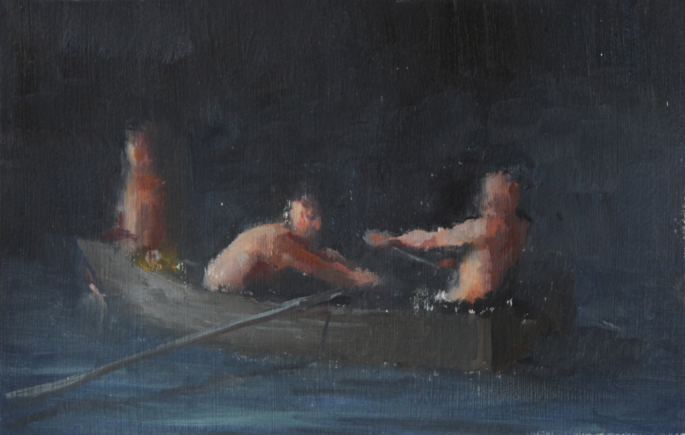 Oarsmen I, Oil on paper, 2011