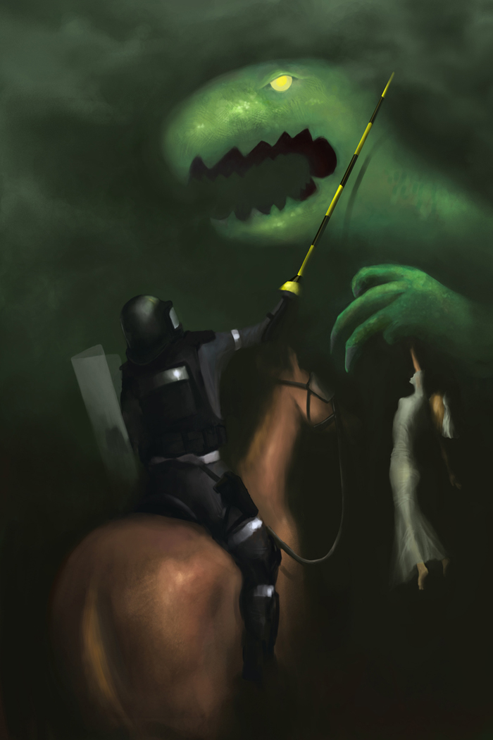St. George VS Godzilla, Digital Painting, 2011