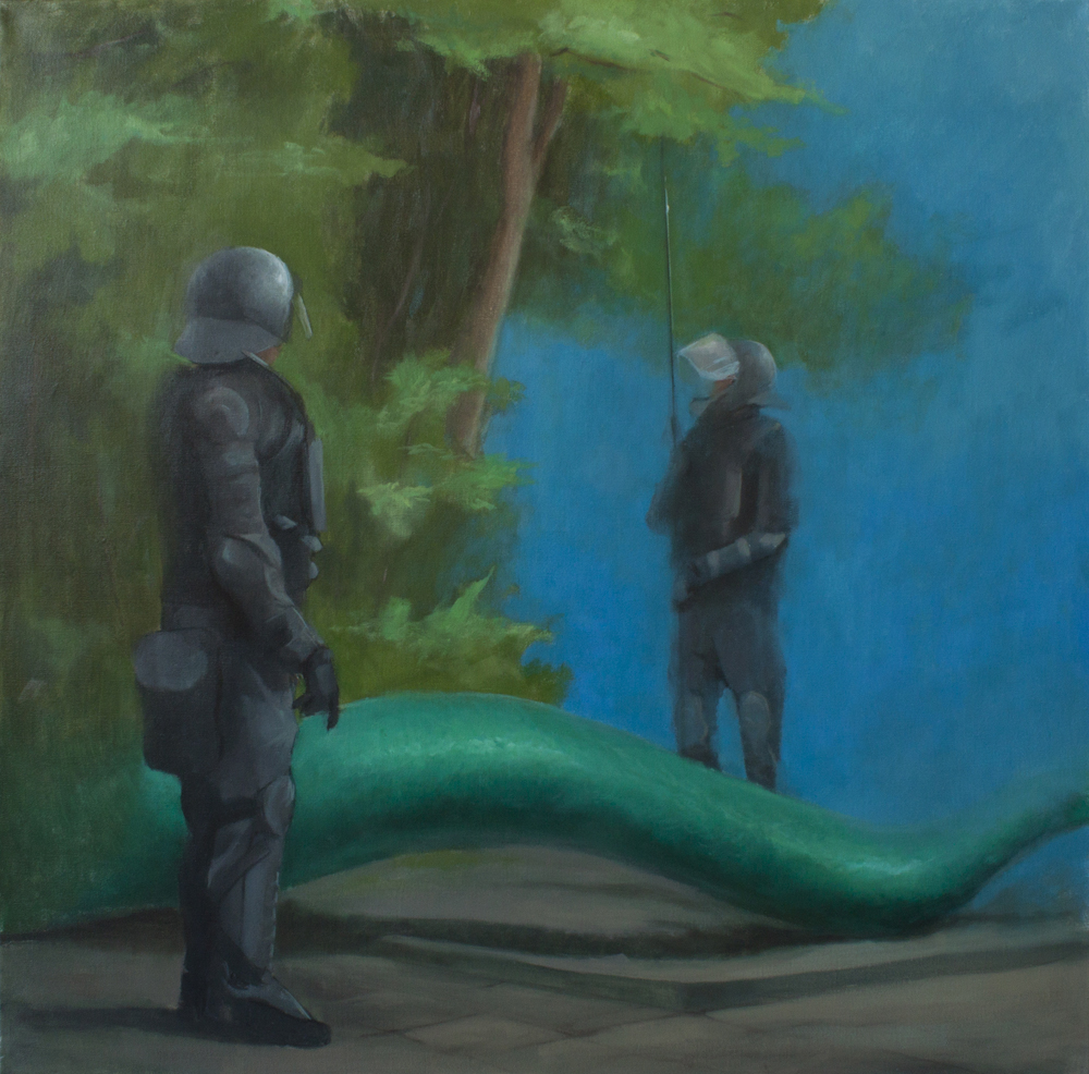 Two Georges and one Dragon, oil on canvas, 100x100cm, 2012