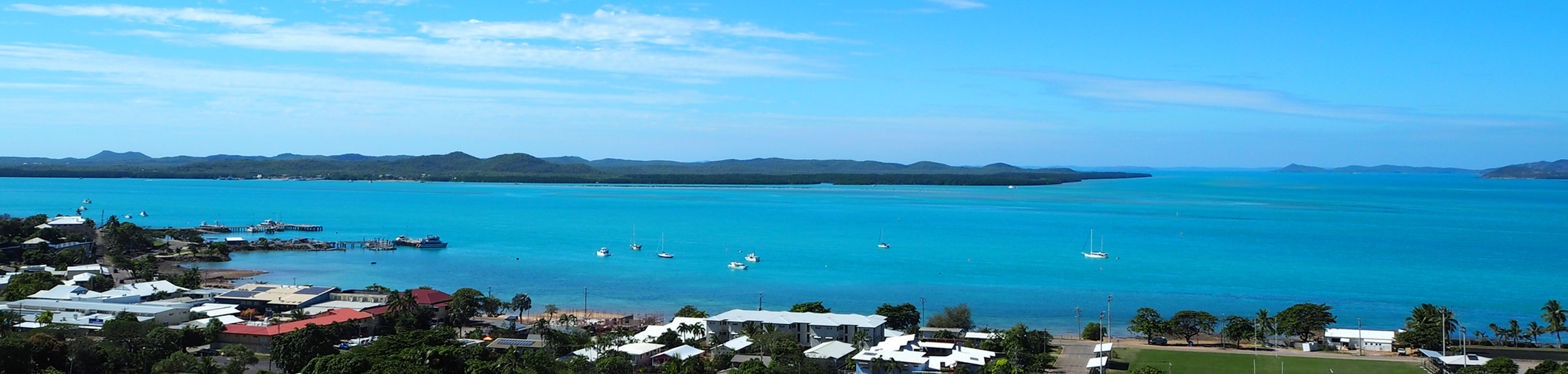 View from the historic Green Hill Fort on Thursday Island, looking south toward Horn Island and Zuna Island beyond.