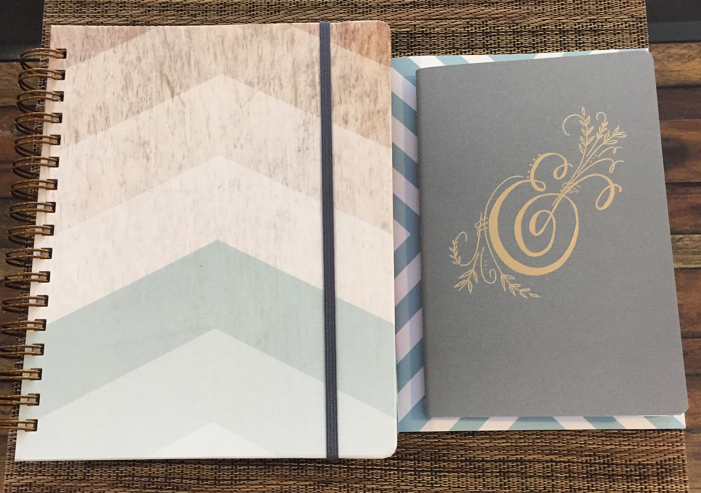 The wood chevron color is so me. And I couldn't resist the ampersand notebook, either. Because, duh. (Paper quality: Top notch.)