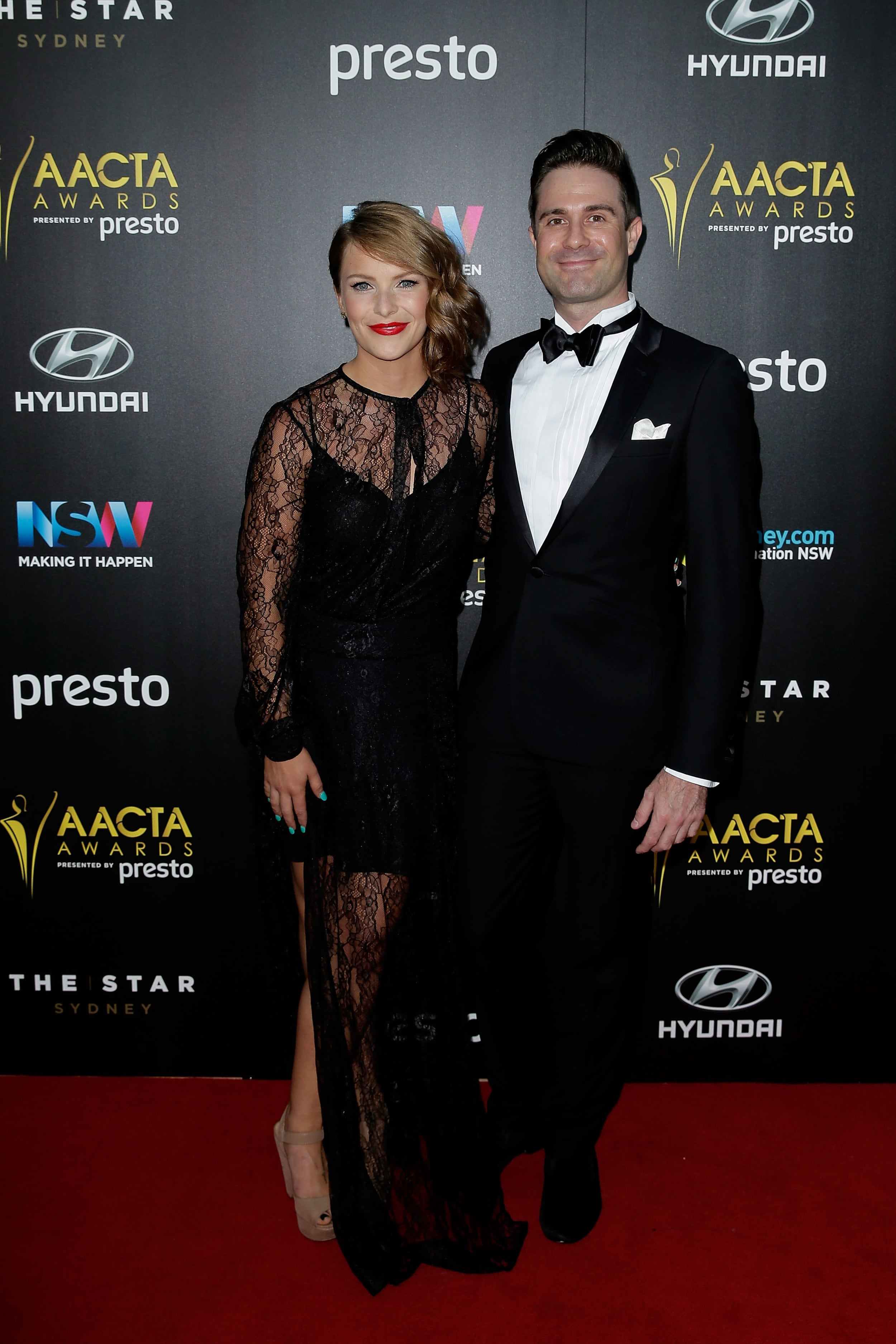 Maree Lowes and Michael Balk arrive ahead of the 5th AACTA Awards Presented by Presto at The Star on December 9, 2015 in Sydney, Australia. (Photo by Mark Metcalfe/Getty Images for AFI).