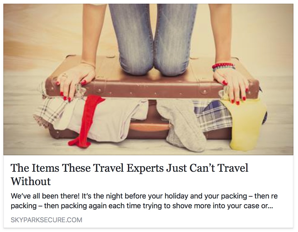 Sky Park Secure article on travel essentials featuring Eustachi unclogging ears
