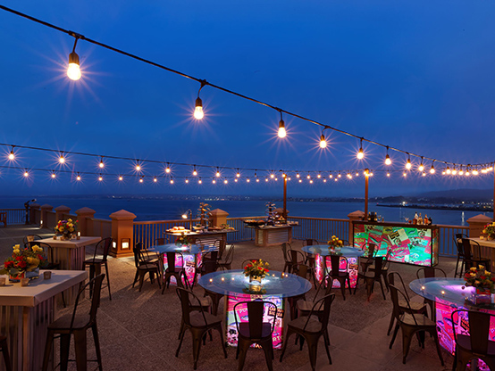 outdoorr upper terrace great for evening events - right on the water - monterey