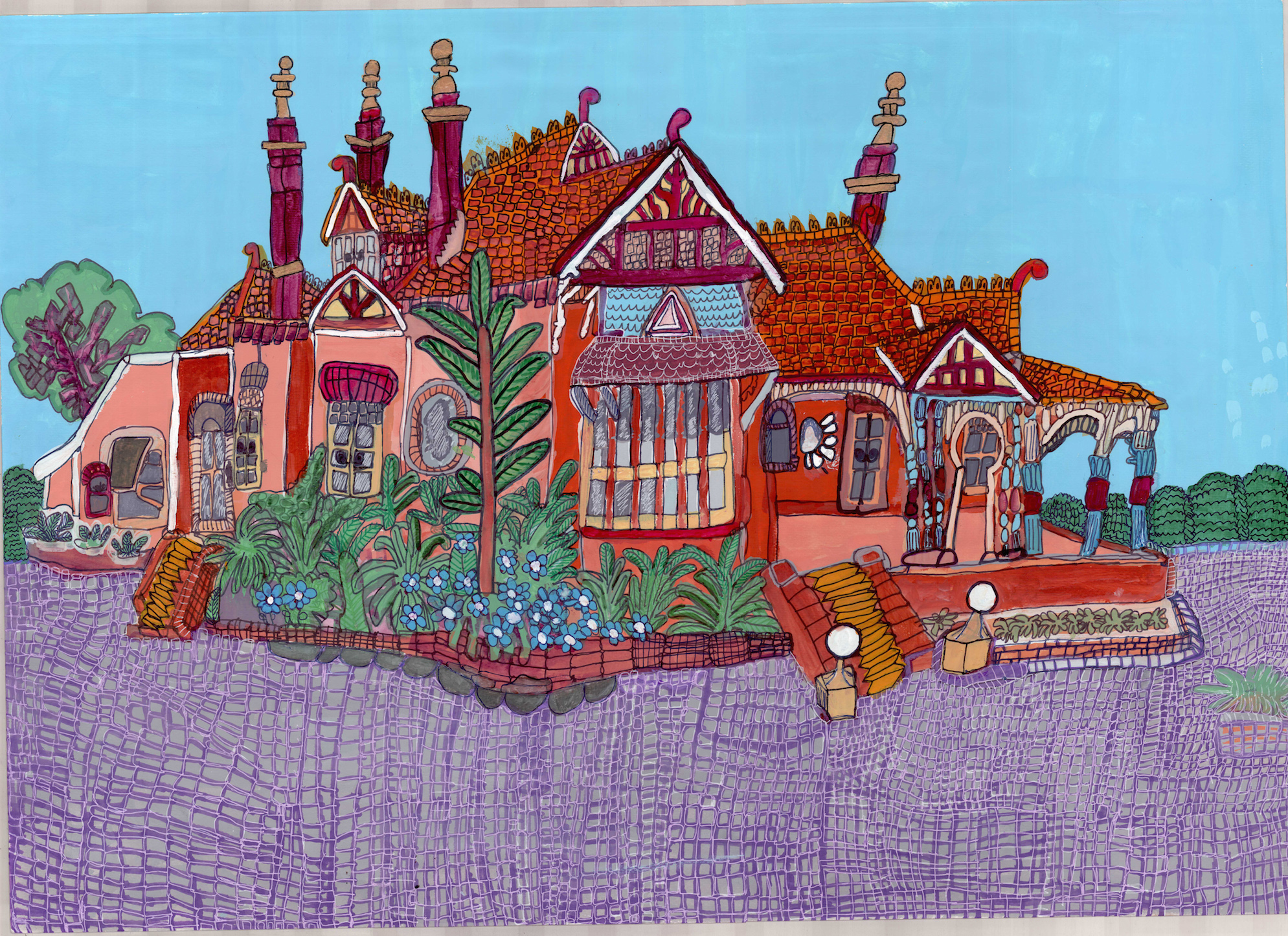 Mt Errington (Two), 2013, pen, pencil, gouache and posca on paper, 60x85cm