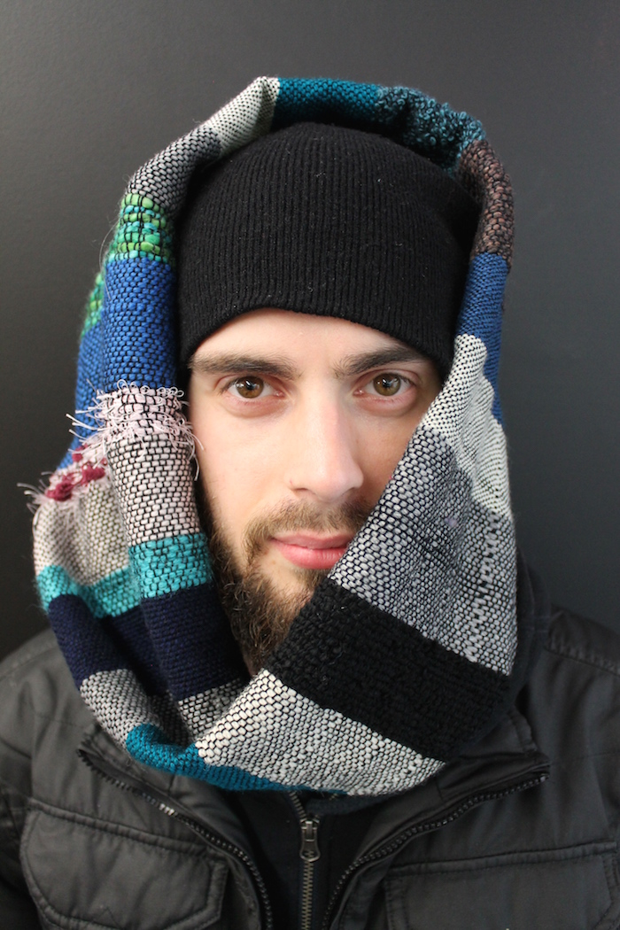 Adam Mandarano, looped weaving, 2015, natural yarns, wool and cotton (model: Timothy Bell)