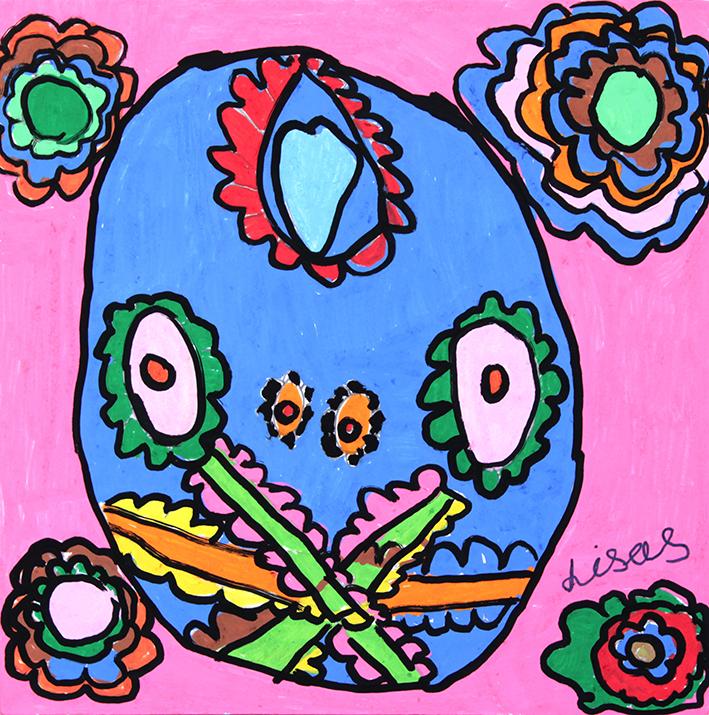 Lisa Scott, Pink Skull, 2015, acrylic and posca on canvas, 50x50cm