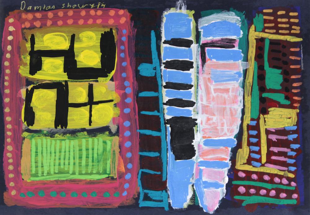 Damian Showyin, Abstrct 1, 2015, acrylic and posca on board, 20x35cm
