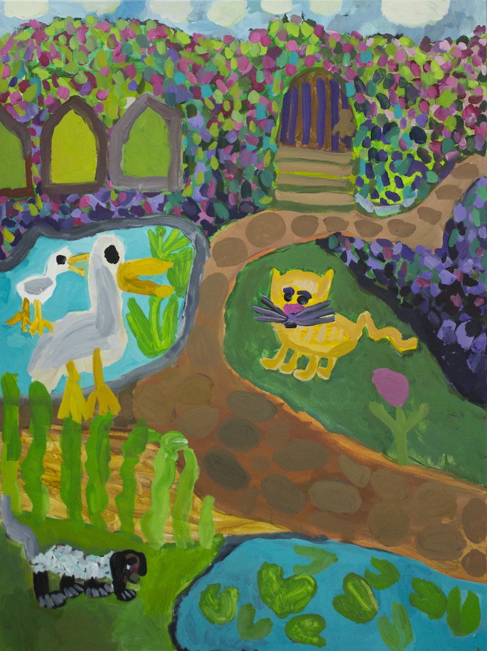 Nadia Lolas and Laura Jones, The Secret Garden (triptych), 2016, oil on canvas