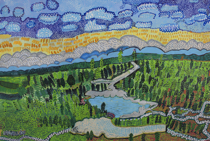 Mystic Wind, 2017, gouache and posca on paper, 70x50cm