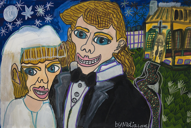 Neighbours Wedding, 2014, gouache and posca on paper,