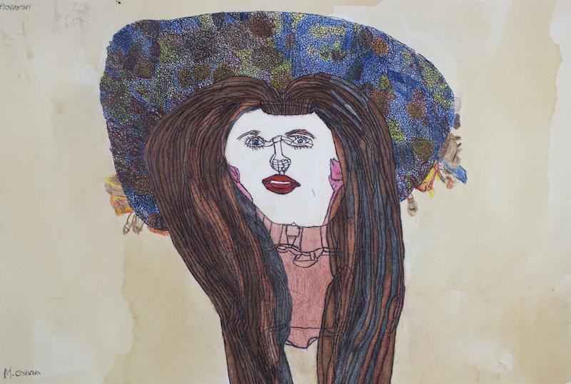 Flower Girl, 2017, pen on paper, 57x38cm