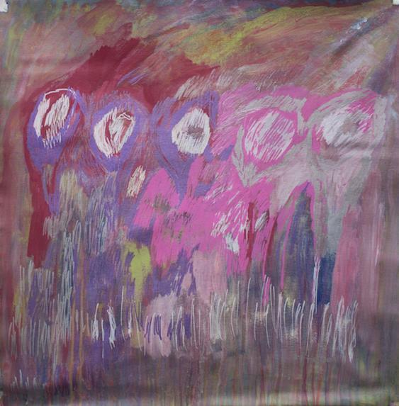 Flowers, 2016, acrylic and posca on canvas, 84x88cm