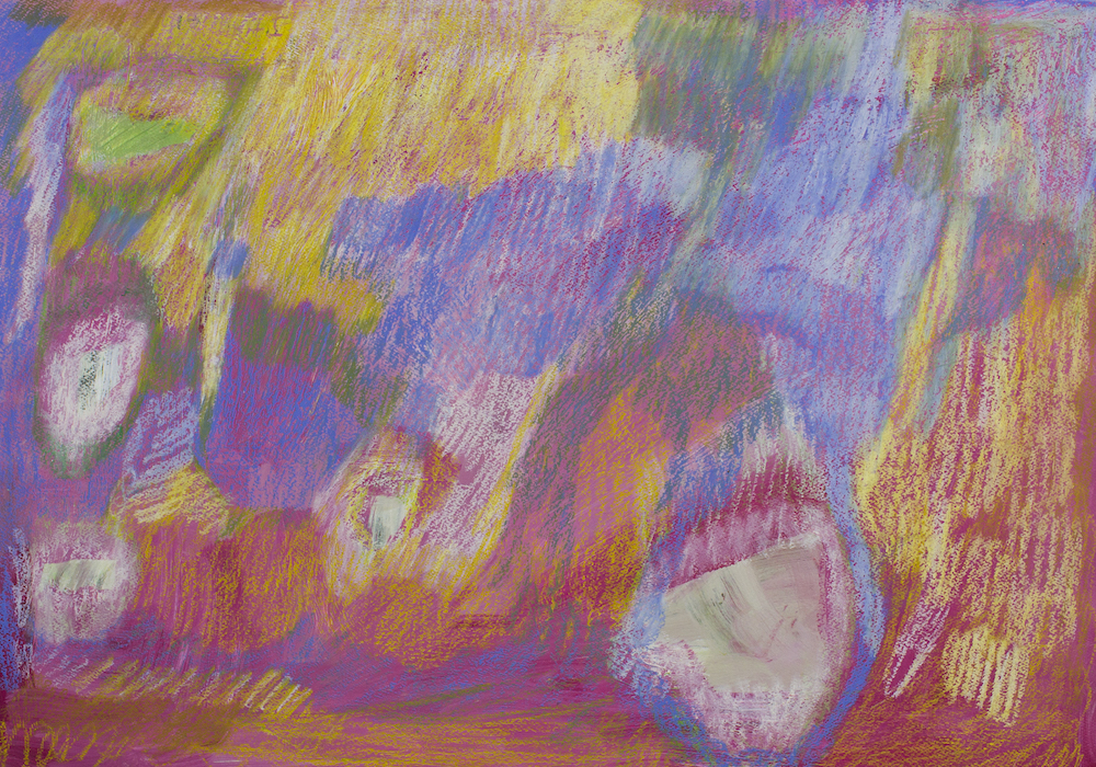 untitled (Yellow, Pink, Blue), 2016, pastel on paper, 67x47cm