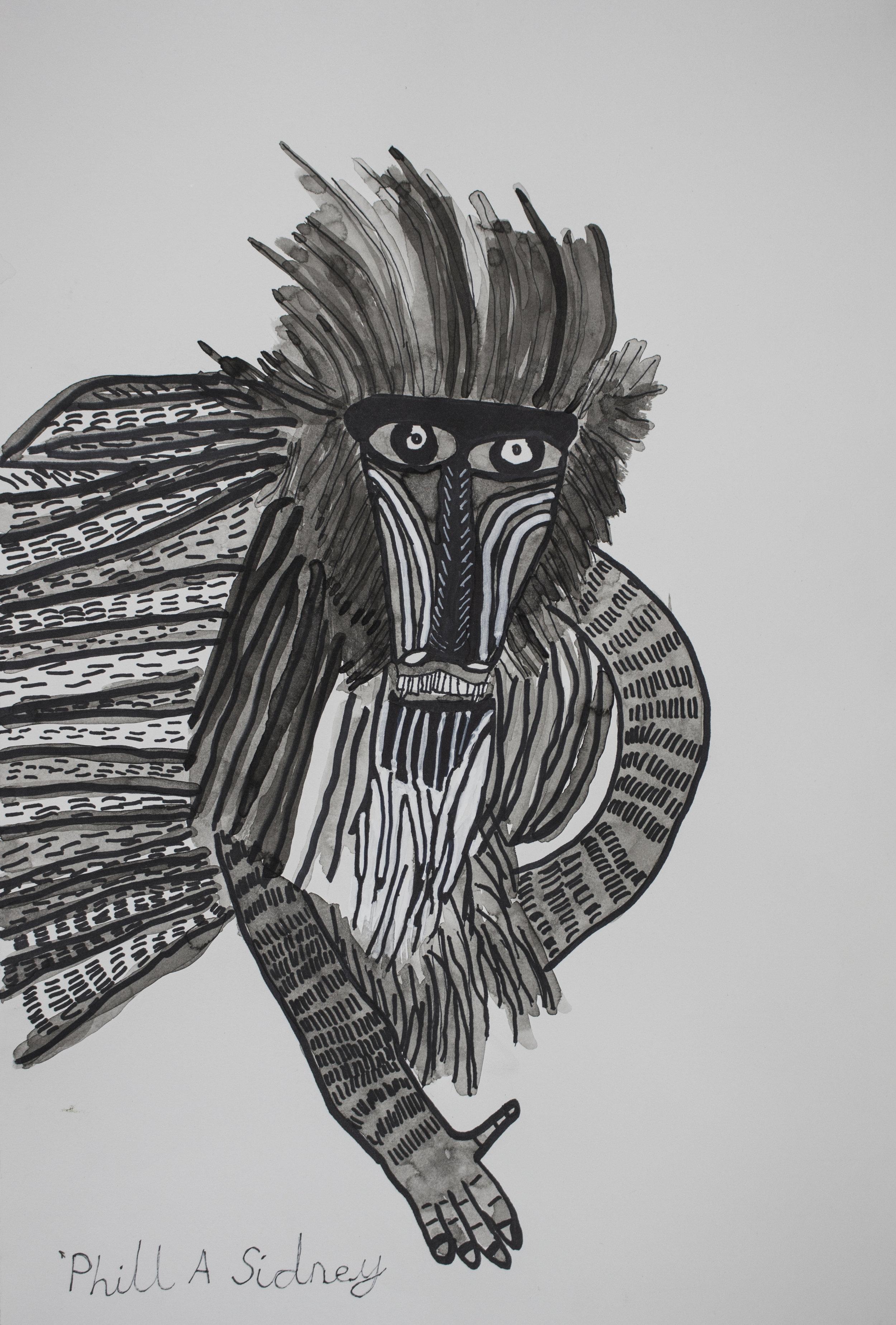 Rafiki Baboon, 2017, ink on paper, 32x47cm