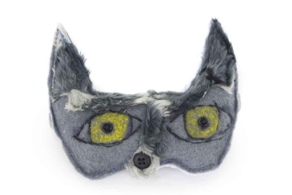 Wolf Mask, 2017, posca and acrylic on felt and faux fur with elastic, 21x18cm
