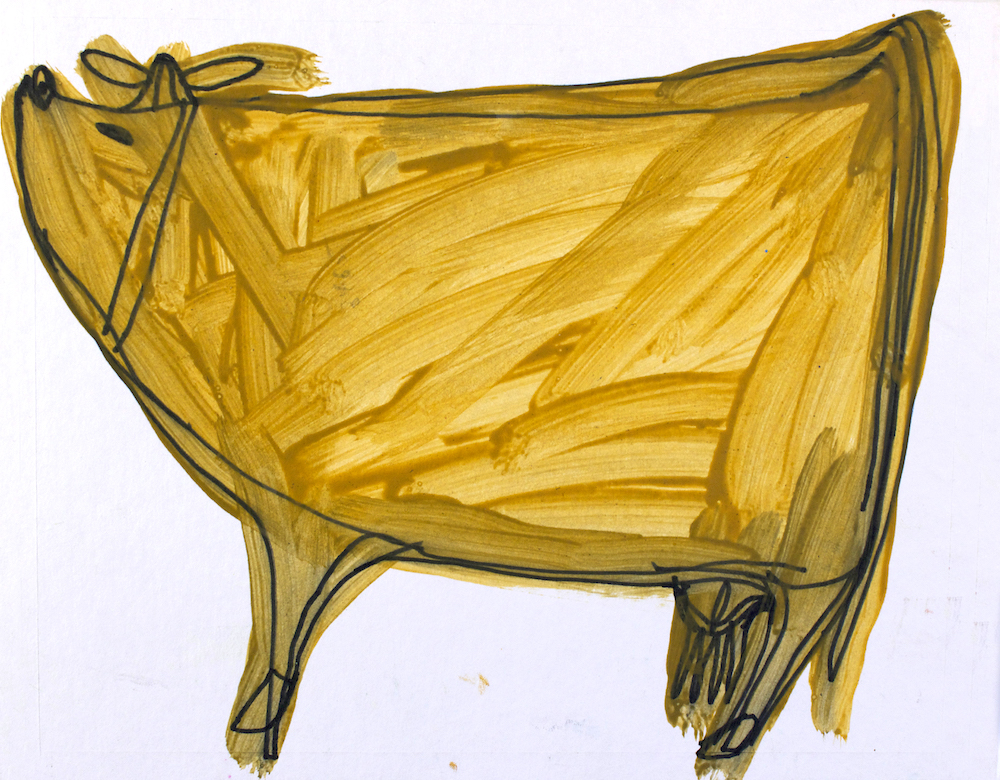 Golden Cow, 2015, acrylic on paper