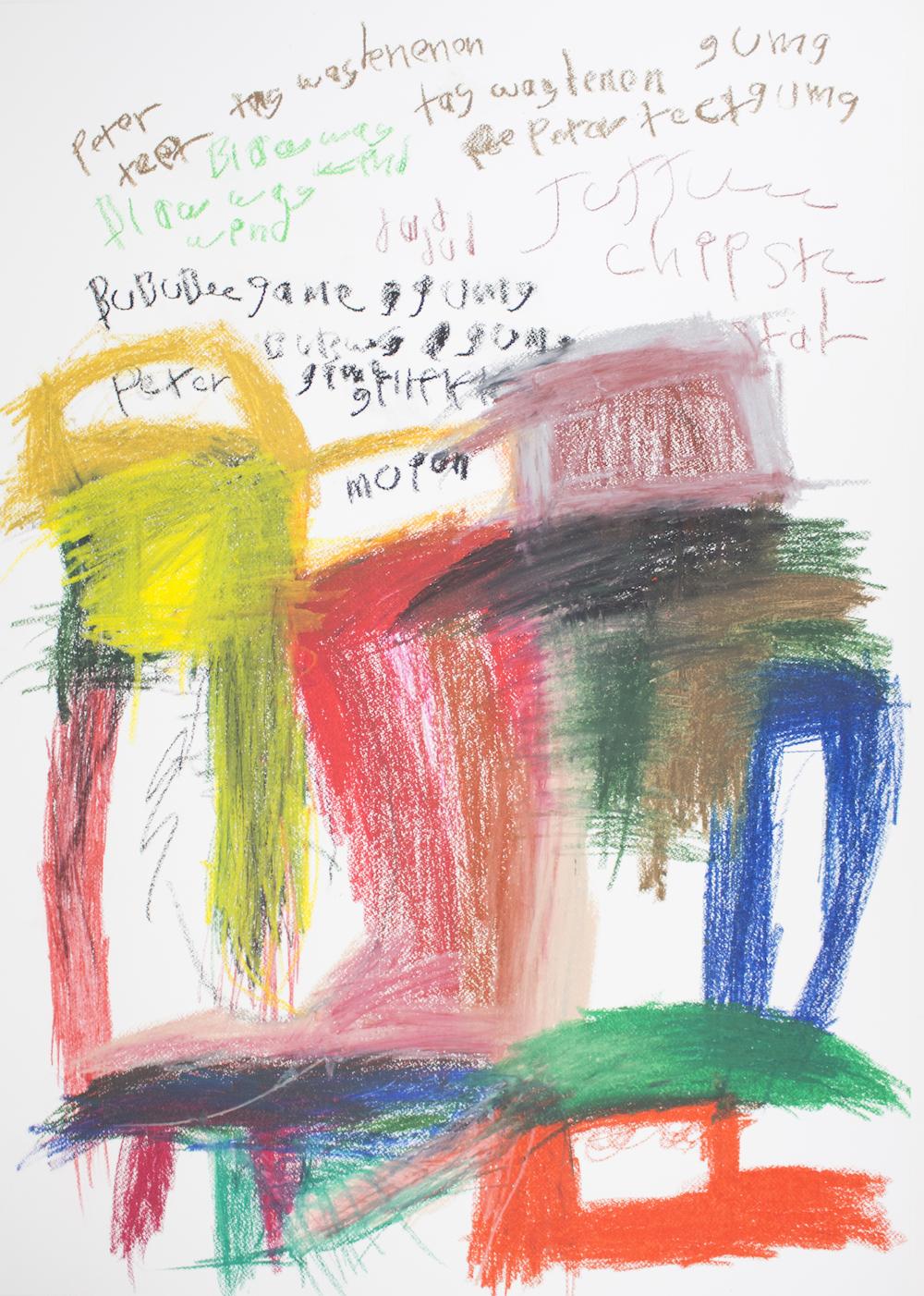 Peter Portraits, 2018, oil pastel on paper, 70x100cm
