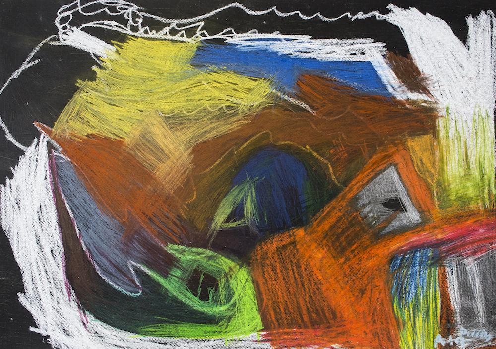 Dead Person, 2016, oil pastel on paper, 68x48cm