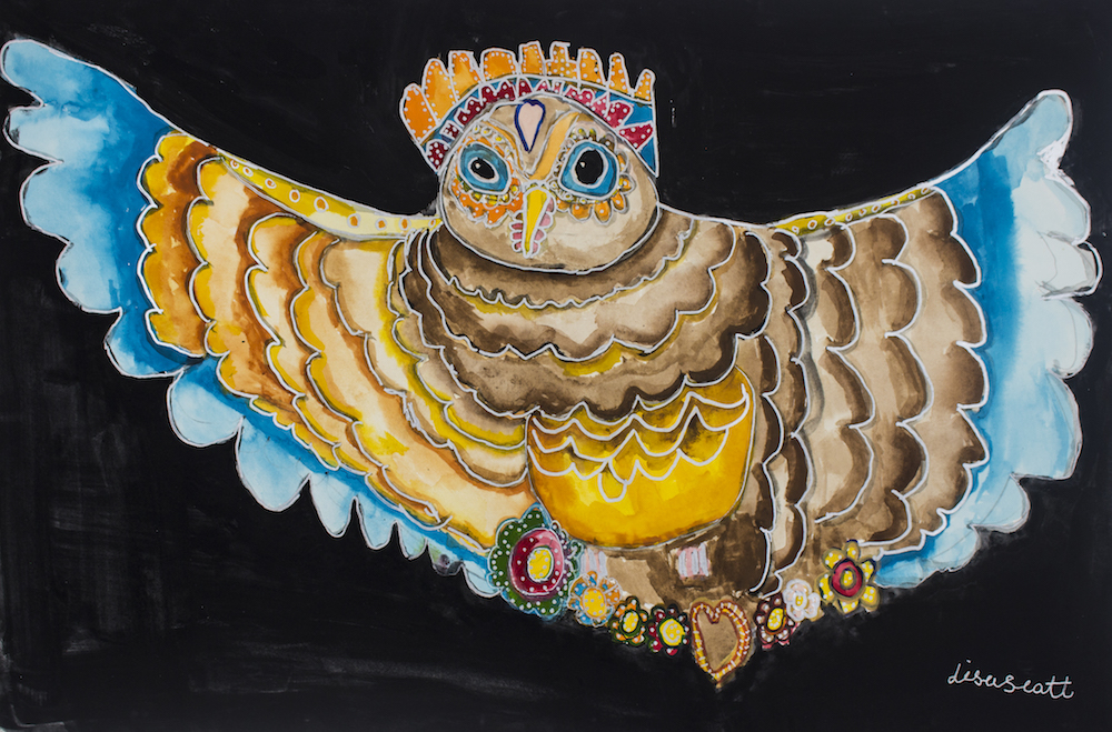 Owl and Crown, 2018, gouache and posca on paper, 54x36cm