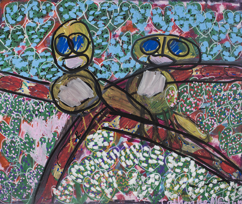 Two Birds on a Branch, 2017, acrylic and posca on canvas, 62x51cm