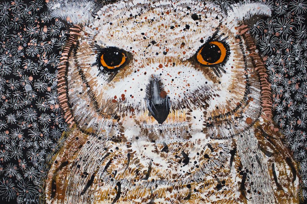 Snow Flake Owl, 2018, gouache, pen, posca on paper, 54x36cm