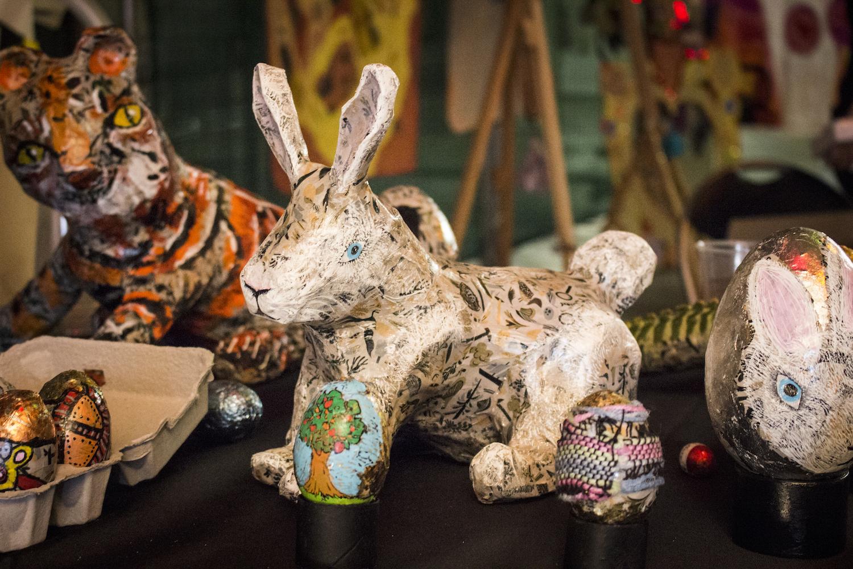 Guy Fredericks, Bunny, 2018, papier maché sculpture, with various Studio A sculptures