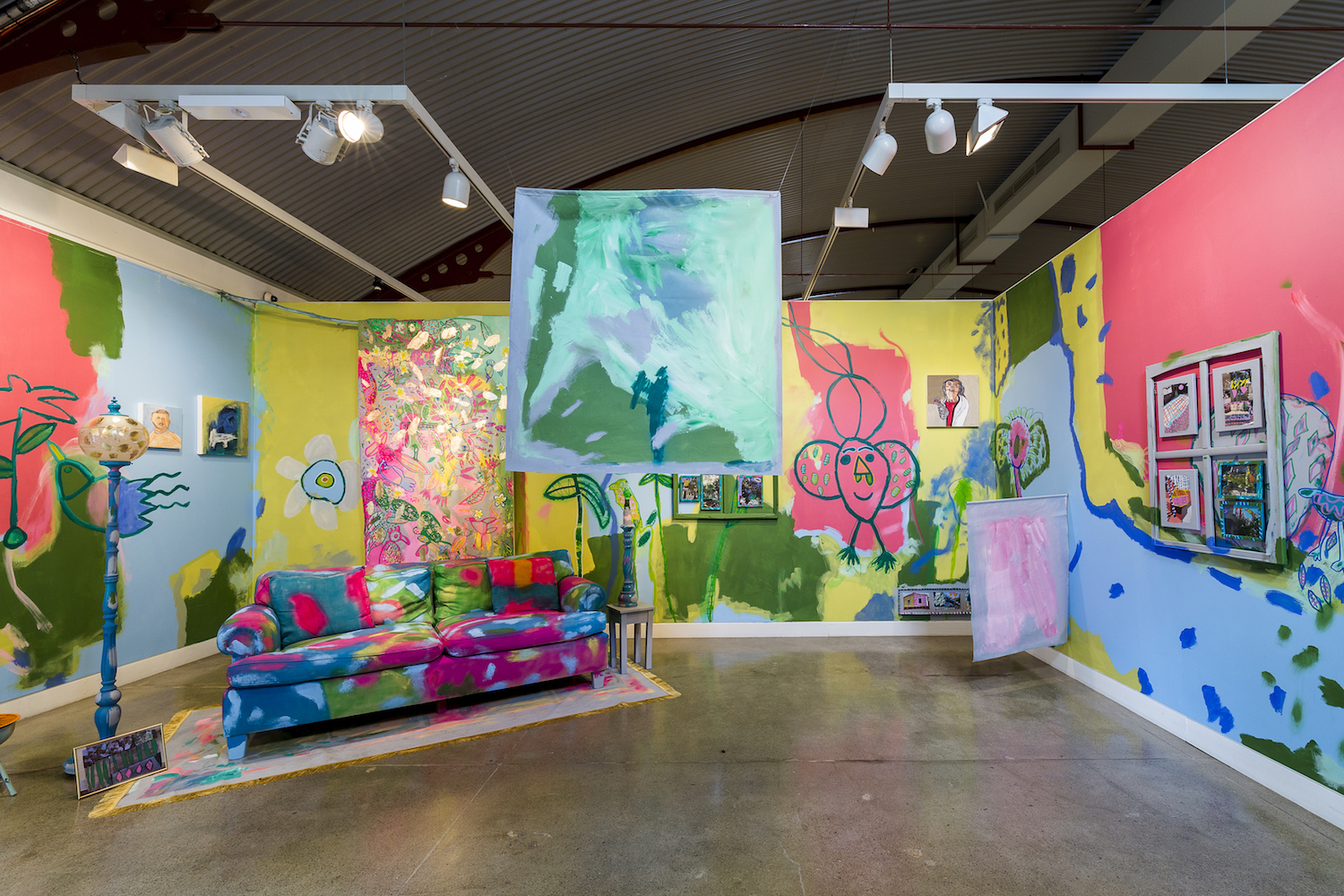 Emily Crockford and Rosie Deacon,  Tree House Koala Girls , 2018, painting and mixed media installation, Project Space, Cement Fondu
