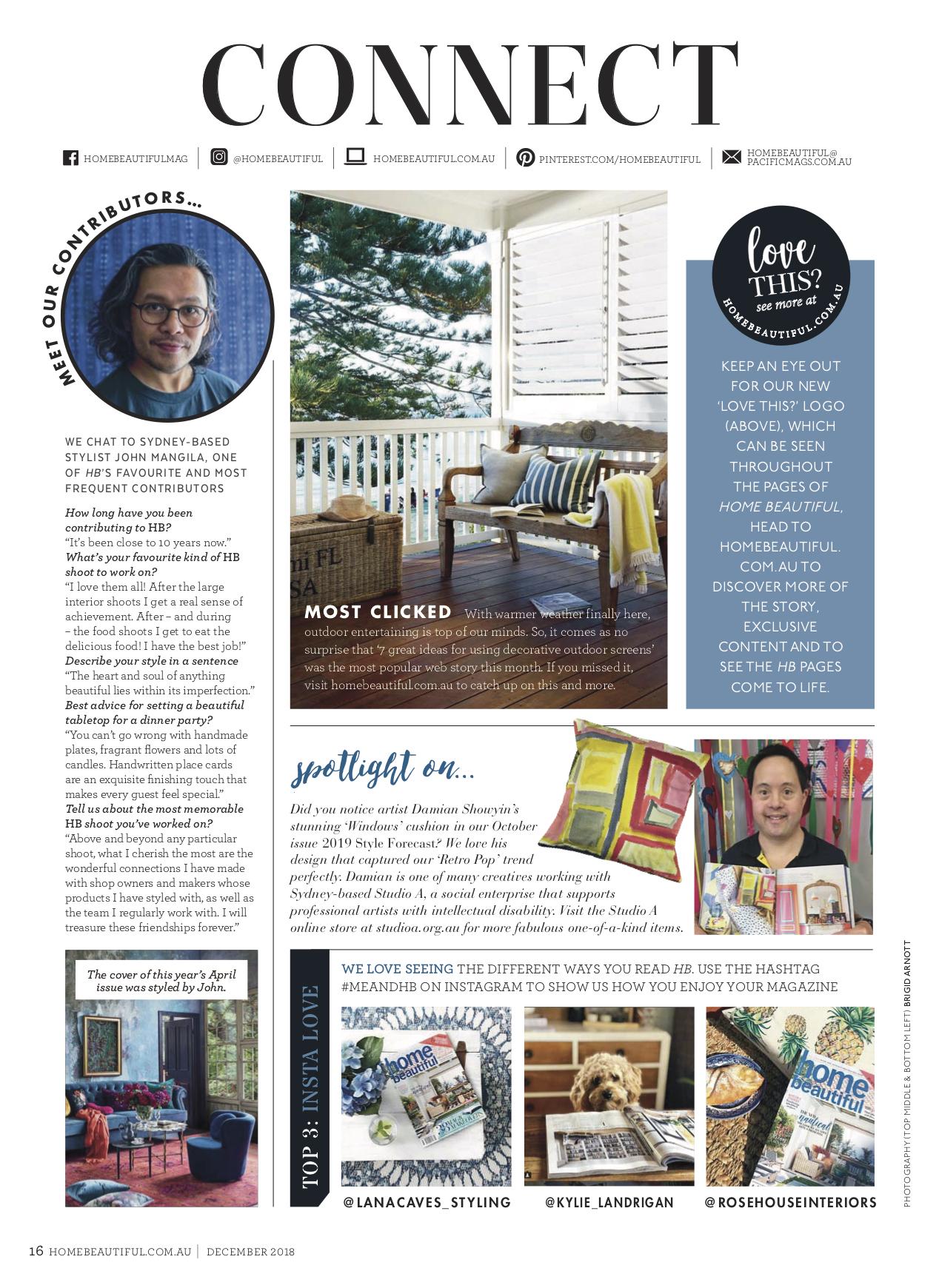 Home Beautiful, December 2018 Issue   Damian Showyin holding the October 2018 issue of Home Beautiful which featured his 'Windows' cushion design.