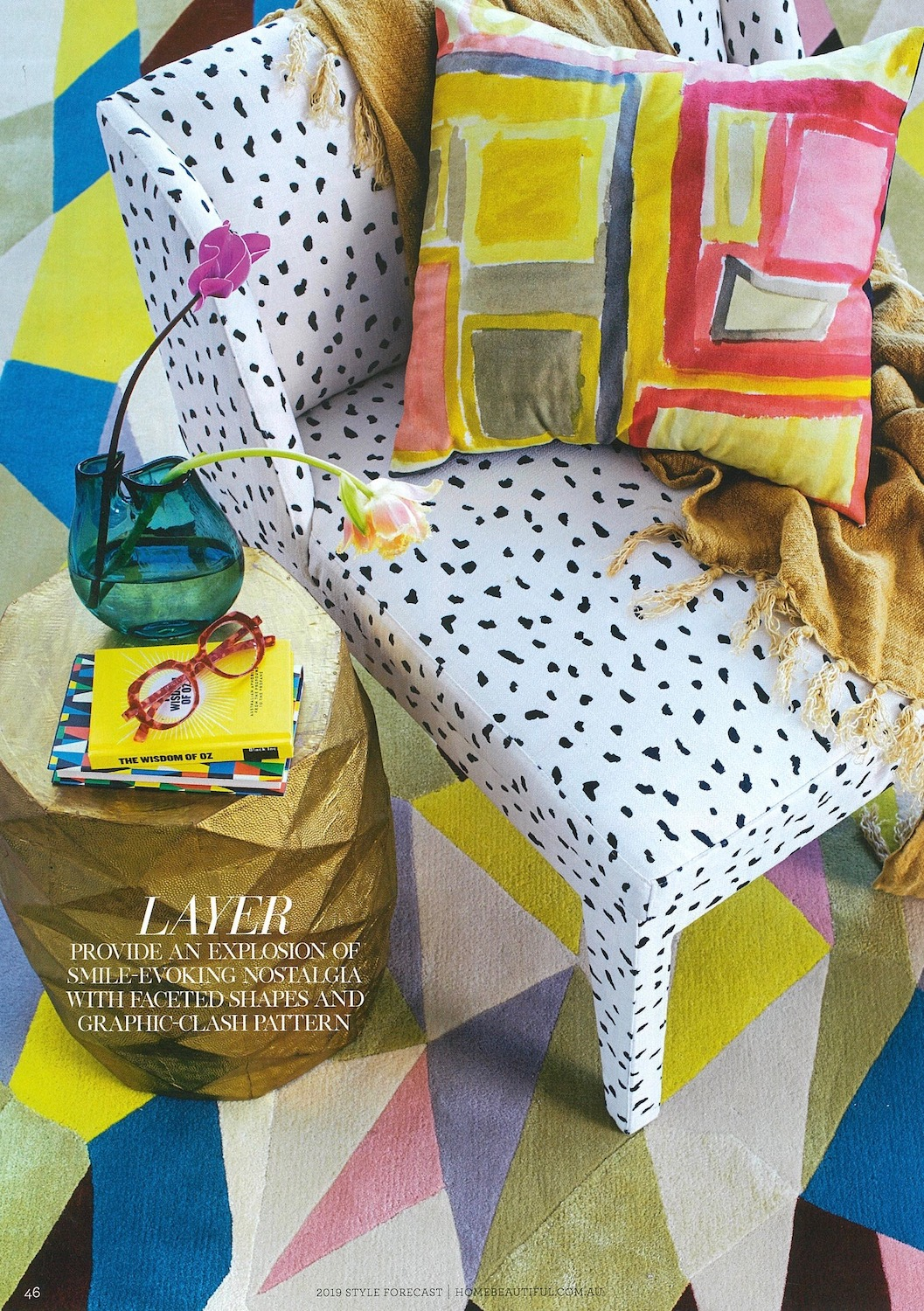 Home Beautiful October 2018 Issue   Damian Showyin 'Windows' cushion featured in the 2019 Style Forecast.