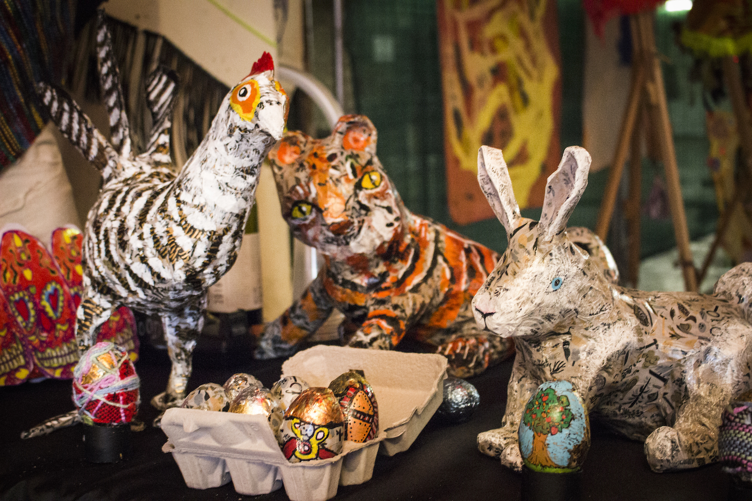 Studio A created papier maché sculptures, Bunny Up, TWT Block Party, 2018