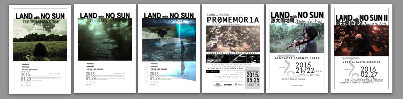 Posters for LAND with NO SUN audio-film concert series