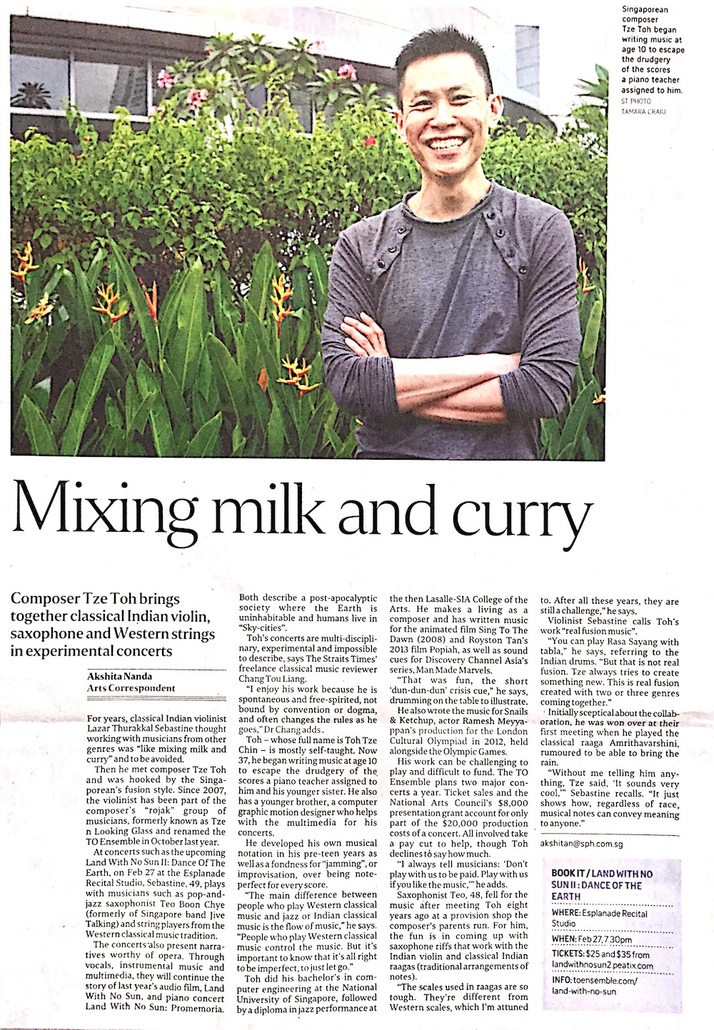 2016 The Straits Times Life!  Interview