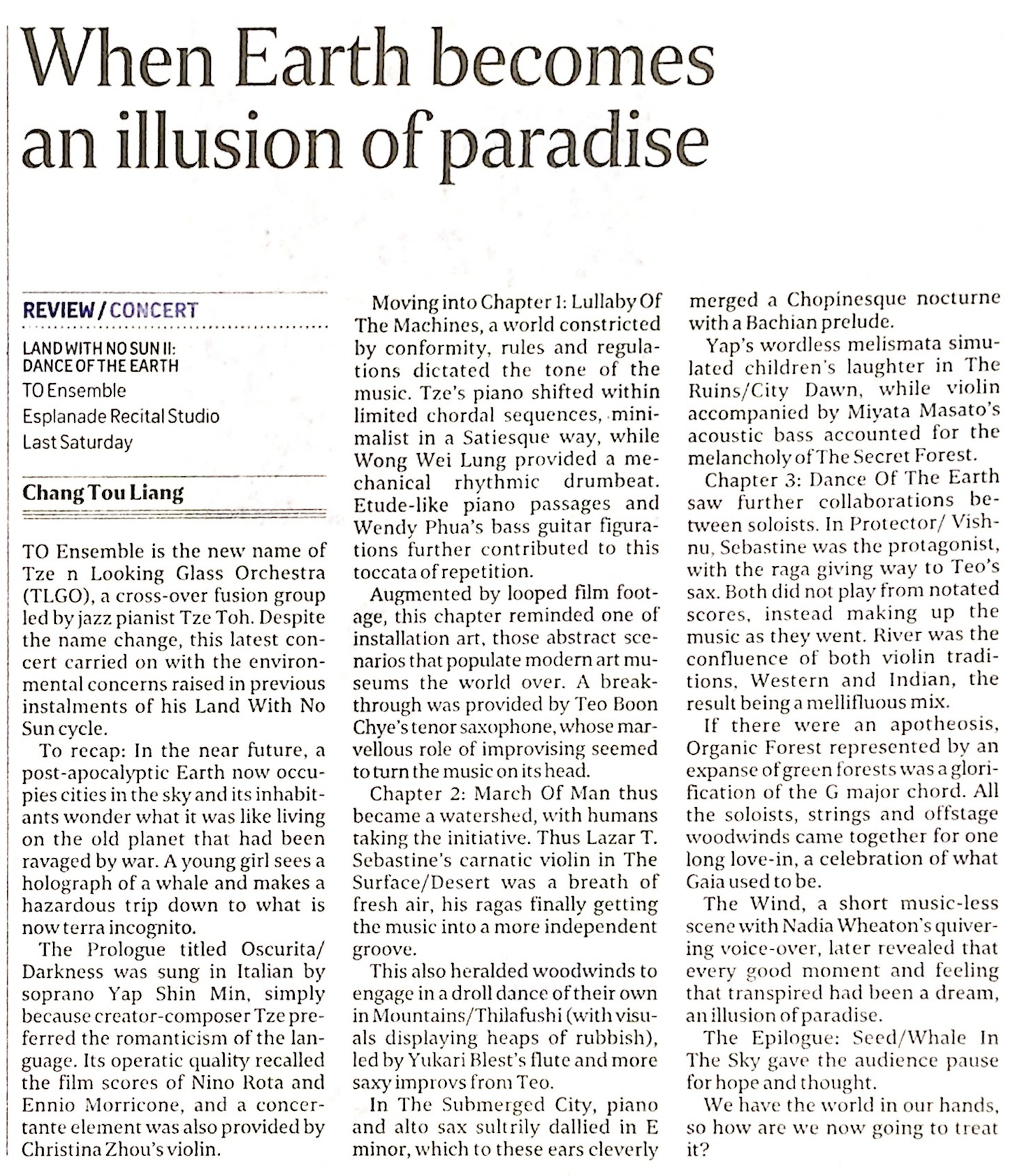 2016 The Straits Times Life! review of audio-film concert LAND with NO SUN II: Dance of the Earth